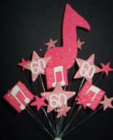 Music notes 60th birthday cake topper decoration in shades of pink - free postage